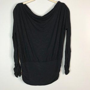 Arden B black long sleeve ruched top (small)